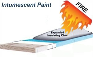Intumescent paint works by expanding up to 50 times its thickness, insulating the substrate.